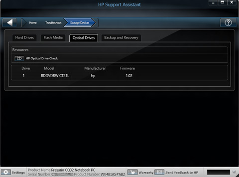 Image of Optical Drives tab in HP Support Assistant