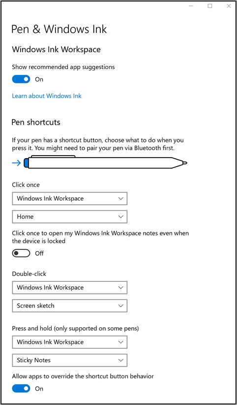 Windows Ink Workspace settings