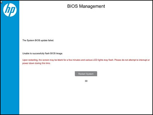 BIOS Management: The System BIOS update failed