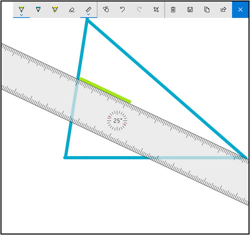 Example showing Sketchpad with the Ruler activated