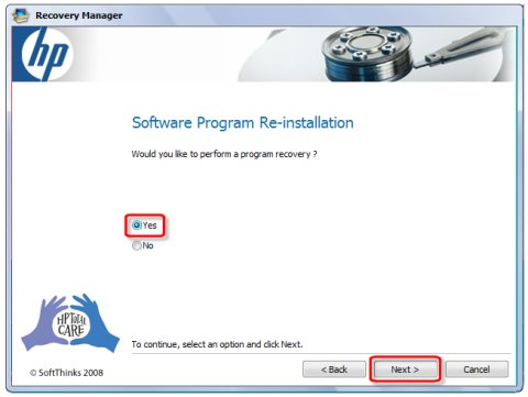 Software program reinstallation screen with selections