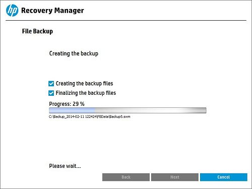 Displaying the progress of the file backup