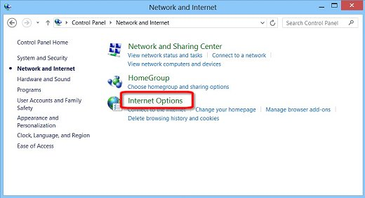 Image of the Network and Internet  screen with Internet Options highlighted.