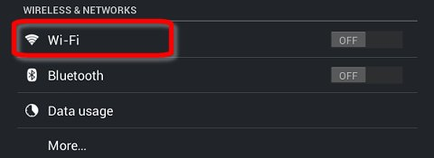 Wi-Fi no menu Configurações