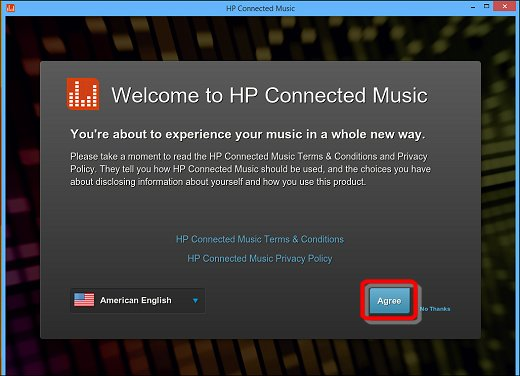 Image of the HP Connected Music welcome screen, accepting the Terms & Conditions and Privacy Policy