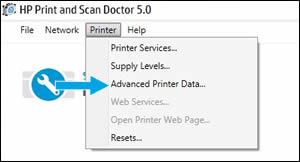 Haga clic en Datos avanzados de la impresora en el menú desplegable.
