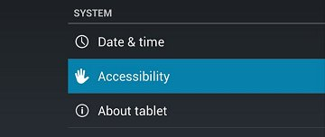 Accessibility in the System section of the Settings menu