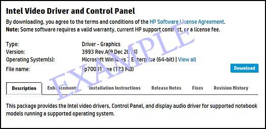 Página de download de software com a guia Descrição selecionada