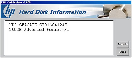 Information about your hard disk