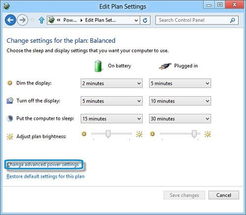 Notebook computers: Change advanced power settings selection in the Edit Plan Settings window