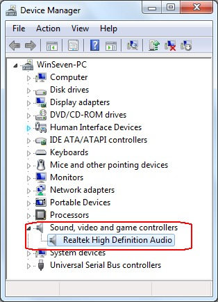 Sound device in Device Manager