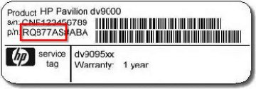 Notebook computer label with the product number highlighted