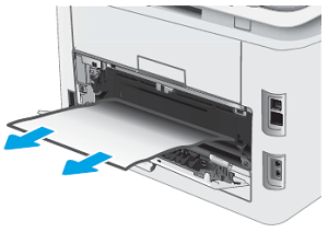 Removing jammed paper from the rear of the printer