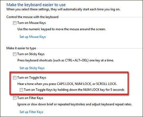 Changing the Toggle Keys settings