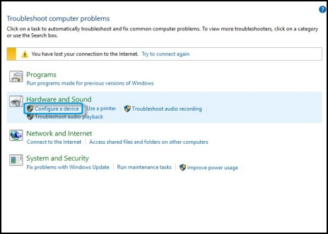 Image showing Troubleshooting window, Configure a device selected