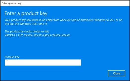 Typing the product key in the Product key field