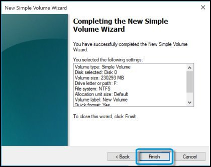 Selected settings in Completing the New Simple Volume Wizard