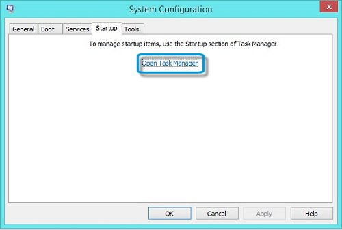 System Configuration window with Open Task Manager option
