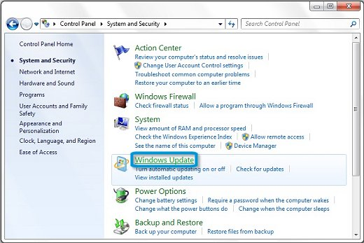 Windows Update in the Control Panel System and Security menu