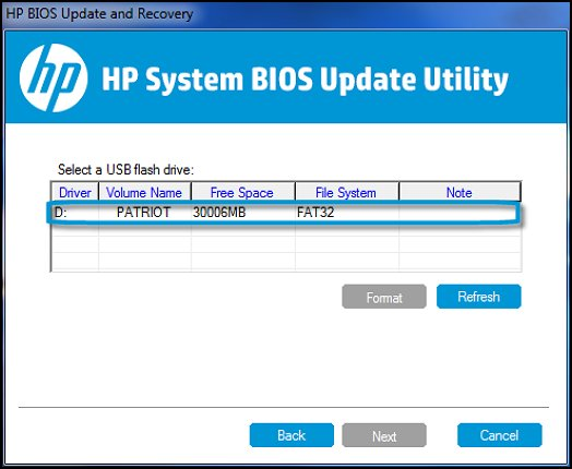 Select a USB flash drive in HP System BIOS Update Utility