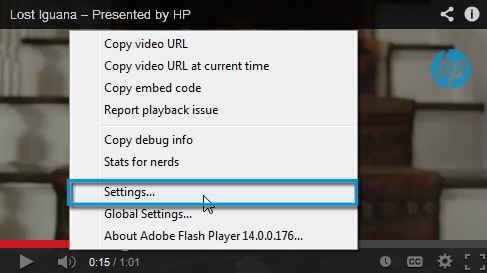 Flash Player settings
