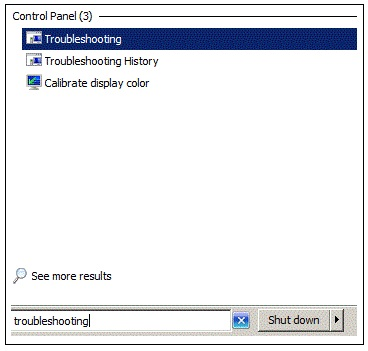 Troubleshooting option