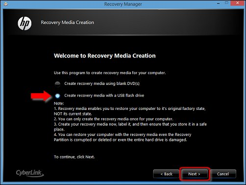 Image of Create recovery media with a USB flash drive and Next selected