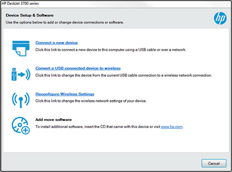 Device Setup and Software window