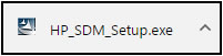 Example of the HP SDM setup file in the browser downloads bar
