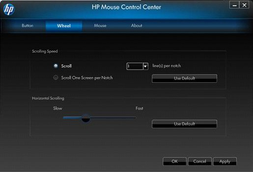 Image of the Mouse Control Center's Wheel tab.