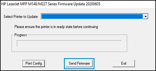 Selecting printer model and clicking send firmware button