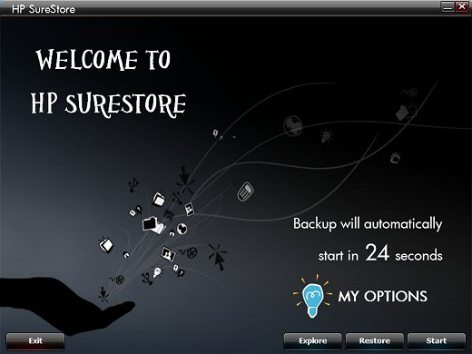Image of the Welcome page with Restore and Explore options