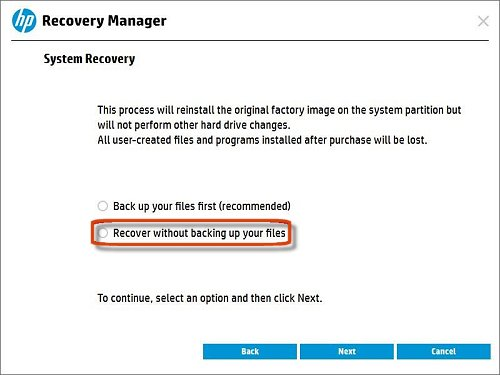 Selecting  recover without backing up your files