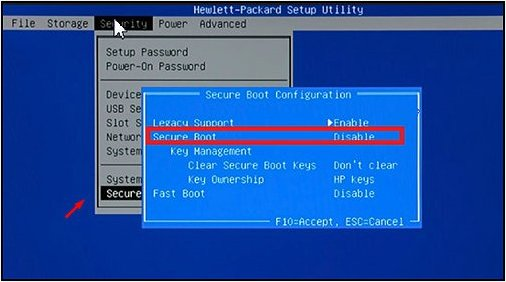 Disabling secure boot in the Security screen