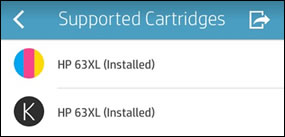 Identifying supported ink cartridges