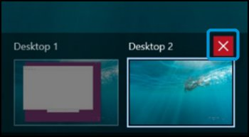 Virtual Desktops with Desktop 2 red X highlighted
