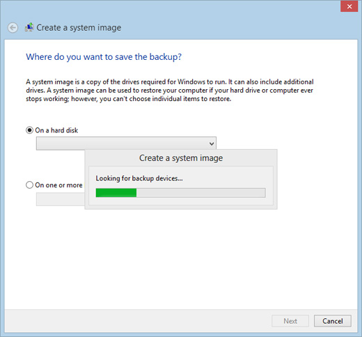 Image of Create a System Image window
