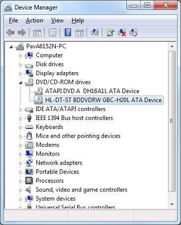 CD and  DVD device listings in Device Manager