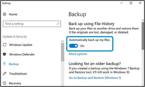 Turning on automatic backup in Backup settings