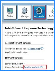 Intel Smart Technology with Reset to available selected
