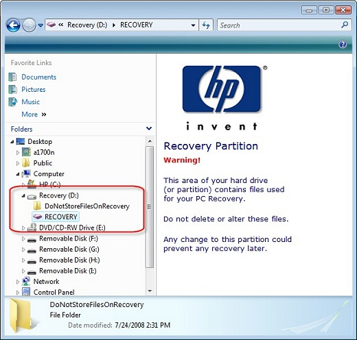 Image of Recovery partition.