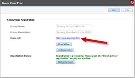Image shows the refresh arrows highlighted and the Claim URL