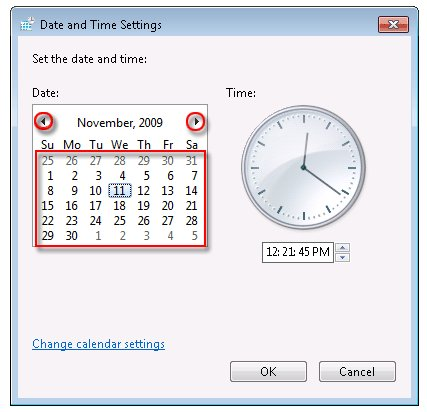 Date selection in the Date and Time Settings window
