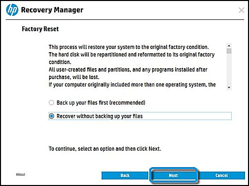 Selecting to recover without backing up your files