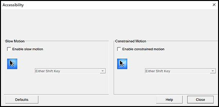 Accessibility settings window