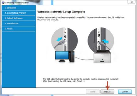 Image shows wireless network setup complete