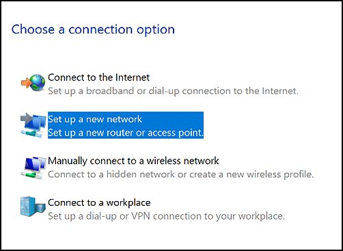 Choose a connection option with Set up a new network selected