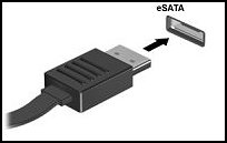eSATA connector and port