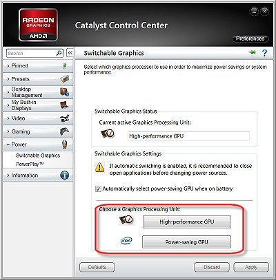 Image of a Catalyst Control Center Fixed Mode Switchable Graphics configuration screen