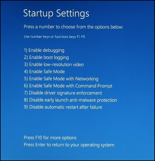 Startup Settings screen showing menu of available startup options
